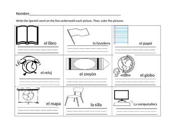 Kindergarten Spanish classroom objects worksheet