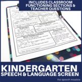 Kindergarten Speech and Language Screen