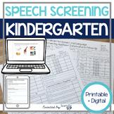 Kindergarten Speech and Language Screening Speech Therapy Print + Digital