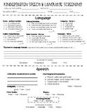 Kindergarten Speech/Language Screening