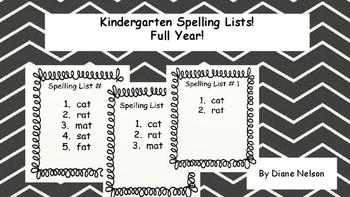 Kindergarten Spelling Lists Full Year
