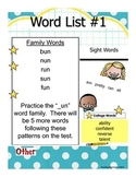Kindergarten Spelling Lists for the Year w/College Words