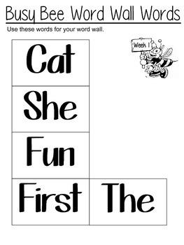Kindergarten Spelling Word Worksheets 1-30 Weeks