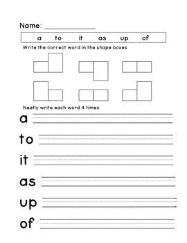 Kindergarten Spelling and Sight Word Homework Packet 3