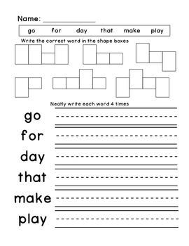 Kindergarten Spelling and Sight Word Homework Packet 7