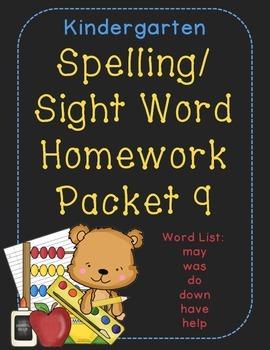 Kindergarten Spelling and Sight Word Homework Packet 9