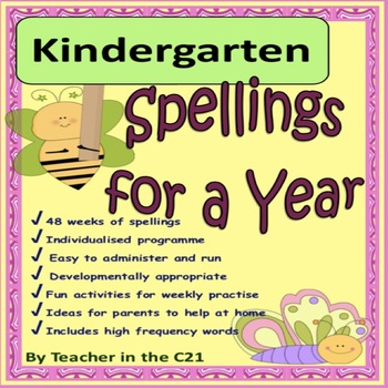 Kindergarten - Spellings for a Year {Spellings and activit