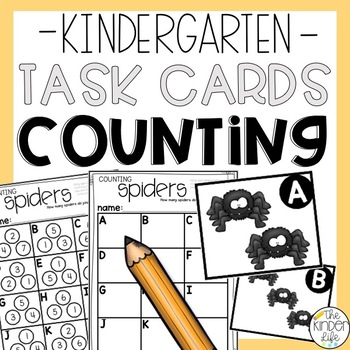 Kindergarten Spiders Task Cards Numbers Counting Matching and Writing