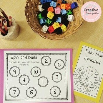 Kindergarten Spinner Math Games for Numbers 1 to 10
