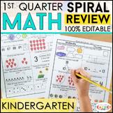 Kindergarten Math Spiral Review | Kindergarten Math Homework | 1st QUARTER