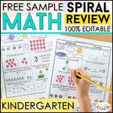 Kindergarten Math Spiral Review | 2 Weeks FREE