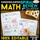 Kindergarten Math Review | Homework or Morning Work | 4th Quarter