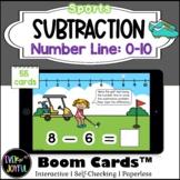 Kindergarten Sports Math Boom Cards™ | Number Line Subtrac