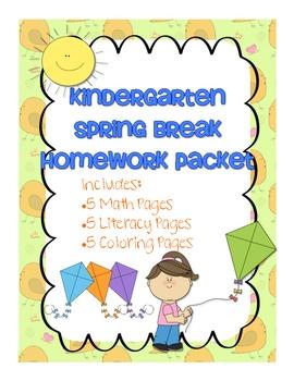 kindergarten spring break homework packet by laura karsjens tpt. Black Bedroom Furniture Sets. Home Design Ideas