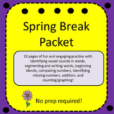 Kindergarten Spring Break Packet