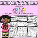 Kindergarten Spring ELA and Math Print-and-Go Pack