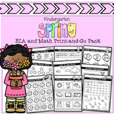 Kindergarten Spring ELA and Math Print-and-Go Pack