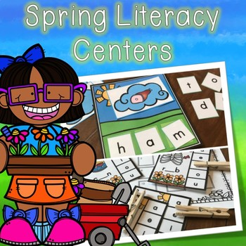 Kindergarten Spring Literacy Centers -- 7 Spring Reading Stations and Word Cards