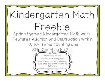Kindergarten Spring Math Freebie
