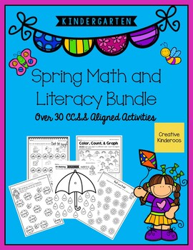 Kindergarten Spring Math and Literacy Bundle