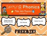 Kindergarten Spring Phonics Print then Practice FREEBIE