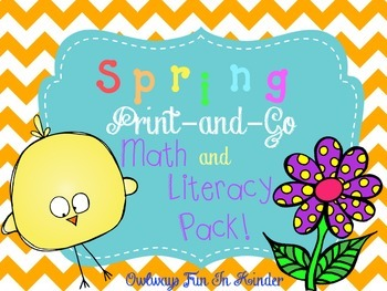 Kindergarten Spring Print-and-Go Math and Literacy Pack (No Prep!)