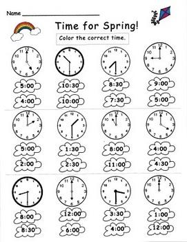 Kindergarten Spring Telling Time Set