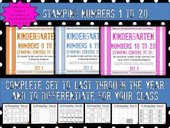 Kindergarten Stamping #s 1-20:  68 Math  Centers Ready to Go for the Year CCS
