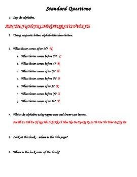 Kindergarten Standard Questions