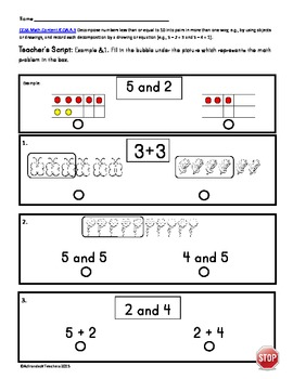"Kindergarten ""Standardized Test Format"" Math Assessment Common Core"