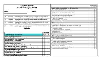 standards based report cards Kindergarten Standards Based Report Card (to the MA Common Core) by ...