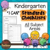 """Kindergarten Standards Checklists for All Subjects  - """"I Can"""""""
