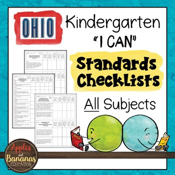 "Kindergarten Standards Checklists for All Subjects - OHIO - ""I Can"""