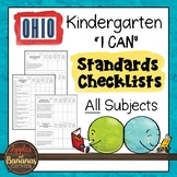 """Kindergarten Standards Checklists for All Subjects - OHIO - """"I Can"""""""