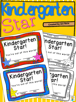 Kindergarten Star Certificate - Out of This World!
