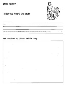 Kindergarten Story Activity Worksheet / Dear Family, Today we heard the story..