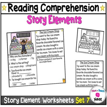 Kindergarten Story Element Worksheets- Set 7 by Mom Plus Teach is Neat