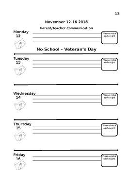 Kindergarten Student Agenda 2018-2019