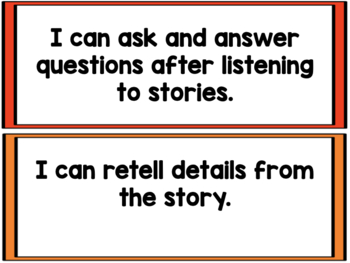 Kindergarten Student Friendly I CAN Statements