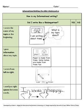Kindergarten Student-Friendly Informational Writing Checklist