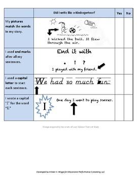 Kindergarten Student-Friendly Narrative Writing Checklist