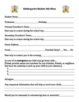 Kindergarten Student Info Sheet-Editable for other Grades