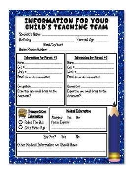 Kindergarten Student Information Sheets (png files)