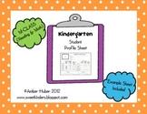 Kindergarten Student Profile Sheet