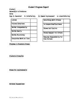 Kindergarten Student Progress Report
