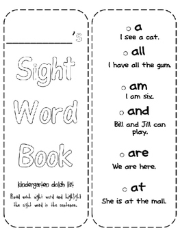 Sight Word Booklet for Kindergarten