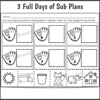 Sub Plans Kindergarten 3 Full Days August
