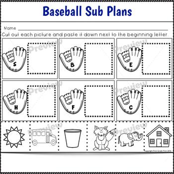 Sub Plans Kindergarten Baseball Theme