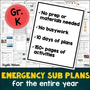 Kindergarten Sub Plans: EVERYTHING you need for 10 days of absences