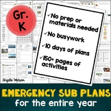 Kindergarten Sub Plans: EVERYTHING you need for 10 days of